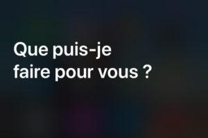 message d'accueil Siri